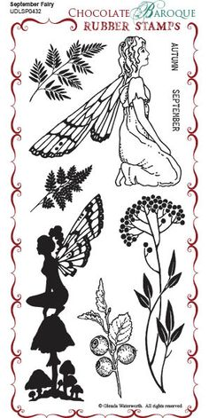 September Fairy Rubber Stamp sheet - DL - Chocolate Baroque