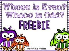 Practice even and odd numbers with this fun math center activity! Contains: 2 sorting mats - one even and one odd 24 owl themed number cards 1 cut and paste worksheet for assessment or follow up activity