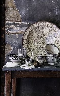Hand painted Moroccan ceramics Safi style. make a statement against a distressed paint finish