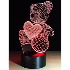 14.42$  Watch here - http://diz5r.justgood.pw/go.php?t=207725201 - Color Change Atmosphere 3D LED Bear Night Light For Valentine Day