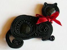 Brooch Gata Negra  Broszka sutasz Kotek Przyczajony