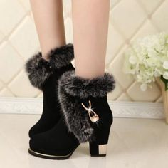 Gilded Square Heel - Ladies Winter Fur Boots Materials Used: Fur, FlockHeel Height: High Fits true to size, take your normal sizeClosure Type: Zip Womens Boots On Sale, Boots For Sale, Winter Fashion Boots, Winter Boots, Cute Snow Boots, Cheap Boots, Thick Heels, High Heel Boots, Ankle Boots