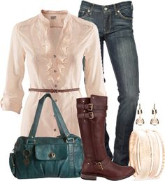 """Ruffled, Belted Top & Jeans"" by ailunsford on Polyvore"