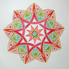 Nine pointed mandala by book artist Jeannie Hunt Arabesque, Coloring Books, Coloring Pages, Mandala Drawing, Tantra, Teaching Art, Mandala Design, Fractal Art, Illustrations