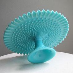 Fenton Turquoise Blue Hobnail Milk Glass by BarkingSandsVintage