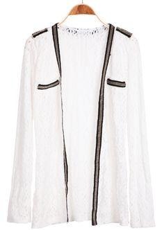 White Long Sleeve Contrast Trims Chain Jacket - Sheinside.com #Sheinside