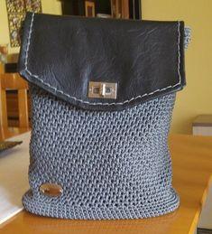 "DK collection ""Lefkada"" handmade crochet backbag for all day use I Shop, My Etsy Shop, Twisted Metal, Leather Cap, Messenger Bag, Satchel, Handmade Items, Crochet, Check"