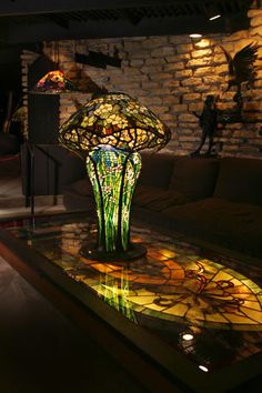 Mushroom lamp on stained-glass table ~ The House on the Rock, Wisconsin
