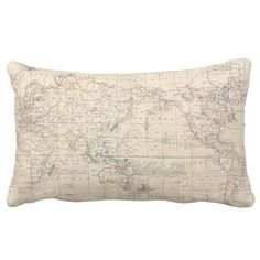 Vintage Map of The World (1799) Throw Pillows