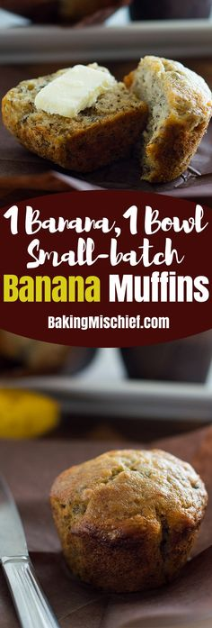 Easy, moist Small-batch Banana Muffins can be made with one banana, one bowl, and half an hour. From BakingMischief.com Banana Bread Recipes, Small Banana Bread Recipe, One Banana Banana Bread, Banana Walnut Muffins Easy, Small Batch Cake Recipe, Banana Bread With 2 Bananas, Banana Scones, Banana Breakfast, School Breakfast