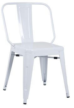 Chintaly Galvanized Steel Side Chair 8021 SC WHT Set Of 4