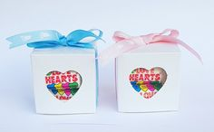 Wrapped Love Hearts in a white cube shaped box tied with a ribbon. Baby Shower Favours, Personalized Baby Shower Favors, Love Heart, Party Favors, Cube, Ribbon, Hearts, Shapes, Box
