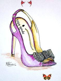 Kate Spade<br> Fashion Art, Fashion Shoes, Fashion Accessories, Drawing Fashion, Fashion Models, Kate Spade, Shoe Sketches, Illustration Mode, Fashion Design Sketches