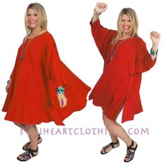 DAIRI FASHIONS CHENELA PLUS TOP OR DRESS RED BOHO HIPPIE CHIC SML-8X #DAIRIFASHIONS #PLUSTOPORDRESS