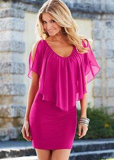 Cold shoulder flutter dress