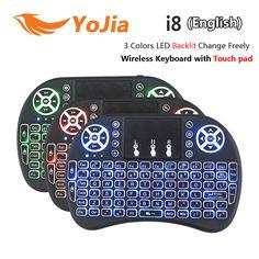 Vontar i8 +英語ロシア語バックライトミニワイヤレスキーボード2.4 ghz 3色用タッチパッドハンドヘルドアンドロイドtvボックスノートパソコンバックライト付き