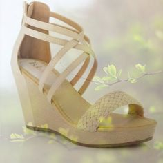 """🌺HP 4/23🌺CUTE DOUBLE STRAP WEDGES These cute wedges have double criss cross straps that slim the ankles & braided toe strap detail as well. About 3"""" in height, these wedges have a closed in heel with trendy zip back. Actual color is shown in last photo. Bella Marie Shoes Wedges"""