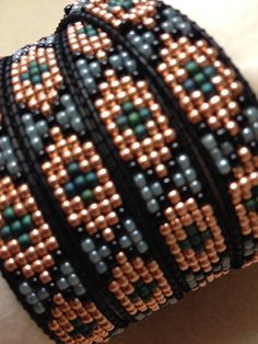 Artisan Beadwoven Leather Edged Wrap by JaneRothTraditions on Etsy