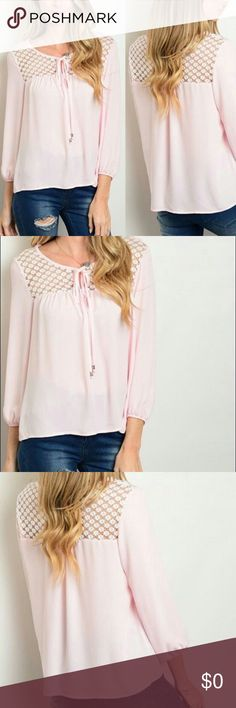 PINK IVORY CROCHET TIE TOP Beautiful pink ivory crochet tie top blouse. 100% Polyester. Details crochet in the front and back of the blouse. Will be available in Small and Large.  🌸Fashion Tip🌸Wear this to work with a light gray pencil skirt and silver strappy sandals! Wear casually with jeans and boots! Very versatile top! GlamVault Tops Blouses