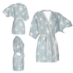Kimono robe,flloral robe,light blue robe,white orchids kimono,light green,Bridesmaid robe,getting ready robes,Bridesmaids gift,Bridal Robe by OkopipiDesign on Etsy