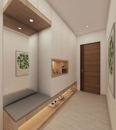 Loving the idea of adding mirror behind the shoe cabinet settee for checking our…,Figen Home Entrance Decor, House Entrance, Home Decor, Entrance Halls, Entrance Ideas, Home Room Design, Home Interior Design, House Design, Modern Hallway