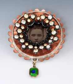 'Family' Brooch in copper, vintage photo, silver, and mixed media, Robert Ebendorf