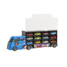 Wilko Play Roadster Free Wheeling                 Transporter with 12 Die Cast Vehicles
