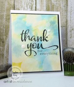 Watercolor Thank You by Taylor for the Simon Says Stamp Wednesday challenge (Use Watercolors) October 2014