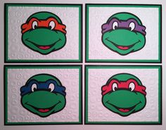 Handmade Set of 4 Teenage Mutant Ninja Turtle Blank Cards, Ninja Turtle, TMNT by JuliesPaperCrafts on Etsy