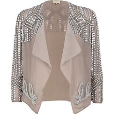 Light grey beaded cropped waterfall jacket €35.00