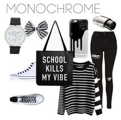 """""""Back to school"""" by caleighcooledge ❤ liked on Polyvore featuring ALDO, Topshop, Casetify, Maison Margiela, Converse, WithChic and monochrome"""