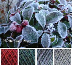 Winter is coming! Frost on cranberries color palette using Harrisville Designs Watershed yarn: Barn Door, Mallard, Bancroft, Birch Bark.