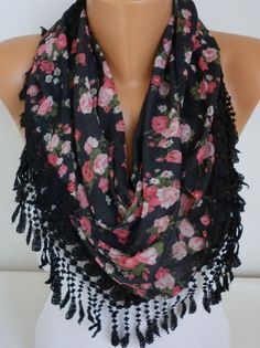 ON SALE  - Black  Scarf  - Cotton  Scarf - Cowl with Lace Edge   - on Etsy, $17.10