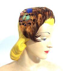 Autumn Hued Feather Headband Hat circa 1950s - Dorothea's Closet Vintage