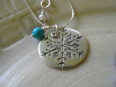Snowflake Jewelry Silver Snowflake Necklace by AnnalisJewelry