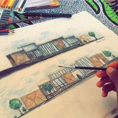 Freehand Views by - Site Today Architecture Concept Drawings, Architecture Sketchbook, Architecture Portfolio, Architecture Design, Interior Design Sketches, Sketch Design, Kindergarten Design, Architecture Presentation Board, Illustration