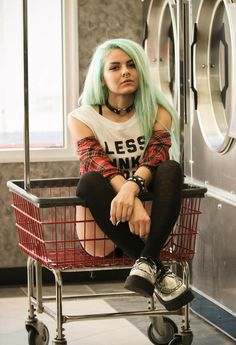 Plaid shirt, T.U.K. Iridescent Creepers, Less Thinking More Drinking t-shirt, Black Leather Heart Ring Choker & Septum Piercing