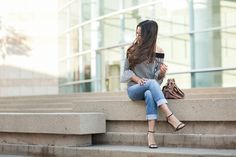 Weekend Stripes :: Off the shoulder top & Boyfriend jeans