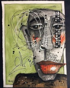 """(SOLD) This is """"He Was Feeling A Little Nervous"""" Playing some more in my """"Distortion class with Ardith Goodwin. I am LOVING this class! Abstract Faces, Abstract Portrait, Abstract Art, Art Sketches, Art Drawings, Messy Art, Truck Art, Art Journal Inspiration, Whimsical Art"""