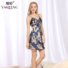 Fashion Women Slip Nightgown Sleepshirt Fake Silk Smooth Night Sleep Wear  Mini Babydoll Shirt China Dragon 4940e7700