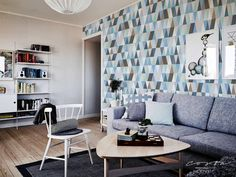 Wallpaper removable for apartment wall hanging Blue Triangle wall accent vintage geometric temporary wall decor diamond pattern CC022 by CostaCover on Etsy https://www.etsy.com/listing/505527416/wallpaper-removable-for-apartment-wall