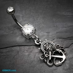 Antique Kraken Anchor Nautical Belly Button Ring