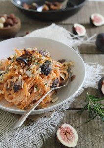 These goat cheese sweet potato noodles are tossed with caramelized figs and chopped hazelnuts.