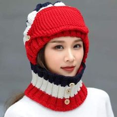 Women Knitted Thickened Cycling Beanie Cap Scarf Adjustable Face Mask for Ski snow Winter earmuff Earmuffs, Skiing, Knitted Hats, Cycling, Beanie, Cap, Snow, Knitting, Winter