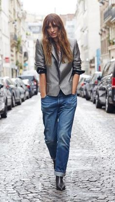 caroline de maigret #LiveInLevis...have similar jacket from H&M. I like the sleeves rolled high, must try