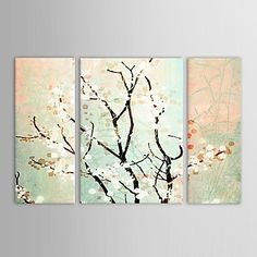 Hand Painted Oil Painting Floral Samuume with Stretched Frame Set of 3 – EUR € 94.87