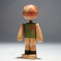 Wooden doll with red hair and freckles, possibly a one-of-a-kind figure, Finland, made by the artist Kaj Franck. Toy People, Wooden Dolls, Designer Toys, Soft Dolls, Wood Toys, Jouer, Game Character, Vintage Children, Vintage Toys