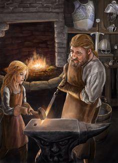 m Dwarf Blacksmith Weapon-Armor mastercrafter w f Halfling assistant The Last Princess series - dwarfs Fantasy Dwarf, New Fantasy, Fantasy Races, Fantasy Rpg, Medieval Fantasy, Fantasy Artwork, Fantasy World, Dark Fantasy, Dnd Characters