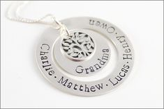 Personalized Silver Grandma Necklace   Tree of Life Charm, Grandchildren Necklace, Custom Name Jewelry, Christmas Gift for Grandma