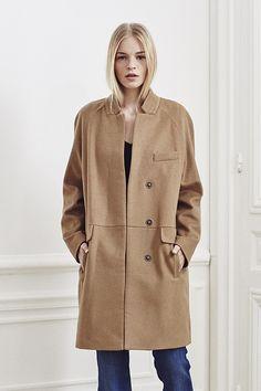 Manteau mi-long camel IKKS Women, collection hiver 15 #FW15 #Fashion #Coat